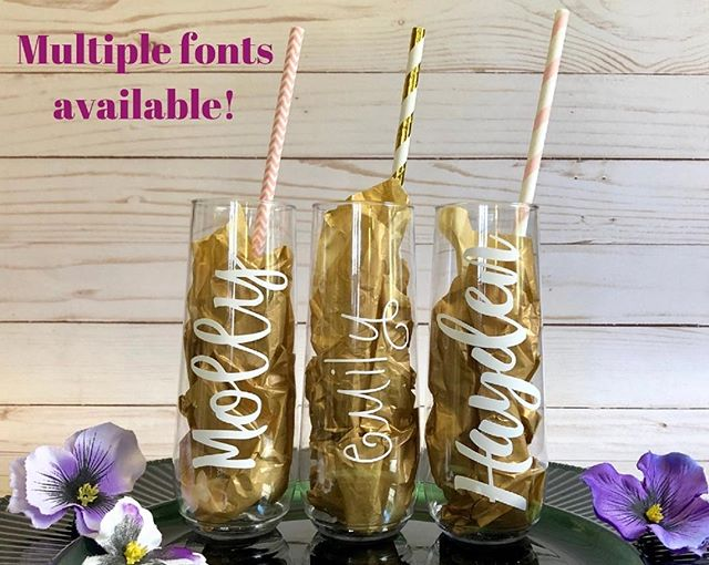 Need #bridesmaids gifts? Head over to #DetailedStudio on #Etsy for personalized champagne flutes that are BPA-free, shatterproof and recyclable!⠀ #weddingplanning #bachelorette #bridalshower #bridegifts #weddingpartygifts #champagneflutes #cheers #toast #mimosas #customgifts #personalizedweddinggifts #madebydetailed