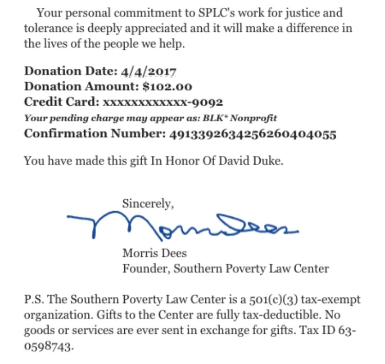 March: $102 for the SPLC