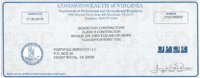 Contractor License - Fortified Services.jpg