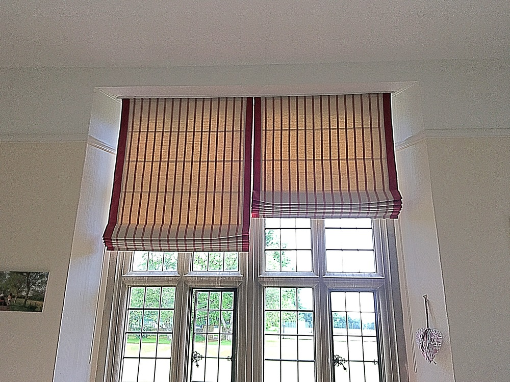 Interlined Contrast Edged Roman Blinds. Private Boarding School In Oxfordshire.