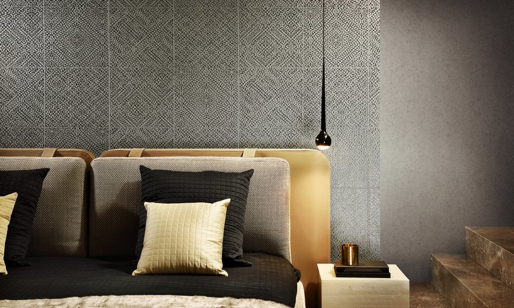 MATRIX With Matrix on your wall, you will also imagine yourself in oriental atmospheres. This design gives you a simple way to create the look of wall tiles in your home. In combination with the shiny relief ink, this pattern is given a very realistic tile structure.