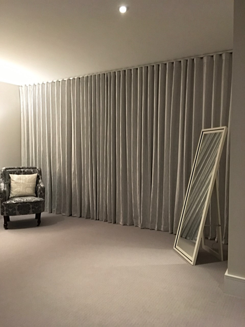 Wave Headed Floor to Ceiling Curtains. Xander Collection by Villa Nova Fabrics