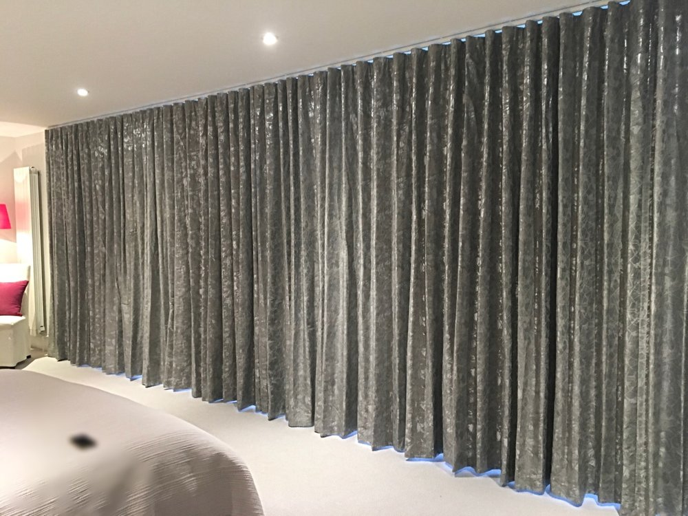 Floor to Ceiling Wave Headed Curtains, Villa Nova Xander Collection