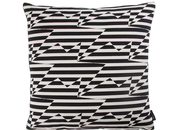 STRIPEY ZIG ZAG BIRD CUSHION | MONOCHROME