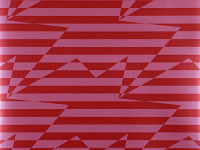 Stripey Zig Zag Birds Wallpaper, Crimson