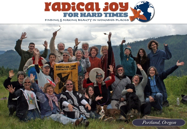 Our 1st Radical Joy for Hard Times honoring of Earth in clearcut forest of the Lewis River watershed.