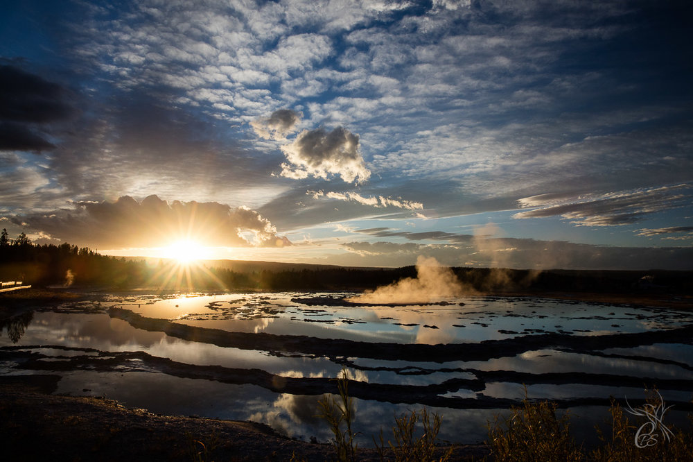 Sunset Geyser in Yellowstone Park