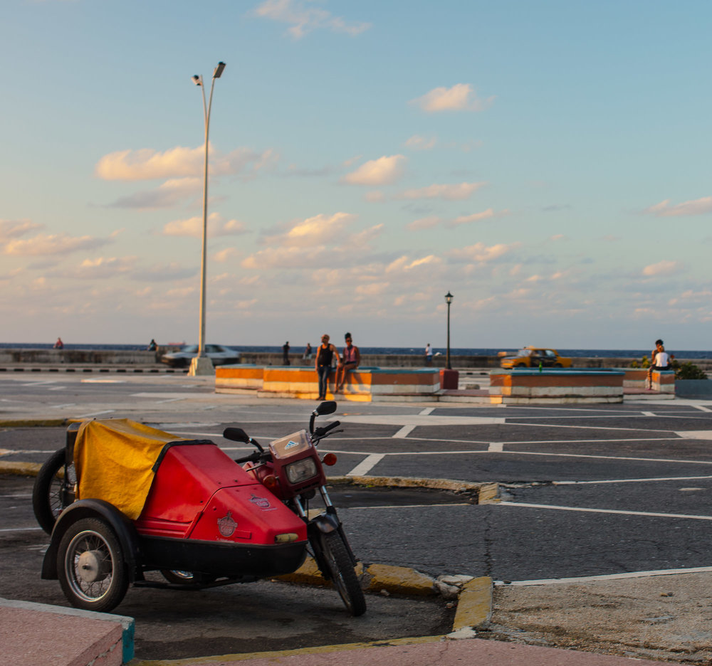 Cuba: Motorcycle on the Malecon