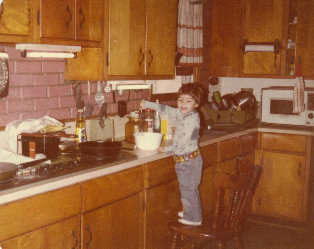 Some of my earliest memories are climbing on to a chair in the kitchen and trying to help my dad cook, Often times, dad would shoo me out of the kitchen, mostly afraid I would cut myself with a knife or burn myself on the stove. I still have scars to prove I did both!