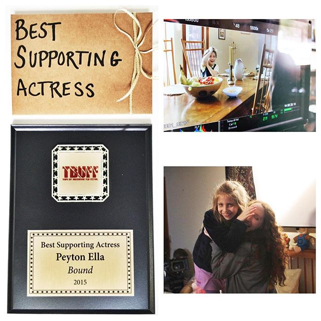 Congrats to our tiniest WINNER @peytonella1 !! #bestsupportingactress 💕🎉👑 thank you #tbuff ! #boundfilm