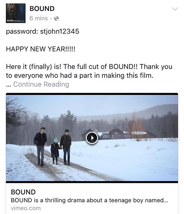 Check out our Facebook page for a special New Years surprise!! Facebook.com/BOUNDfilm 🍾🎬✨ #thestjohnsisters #BOUNDfilm