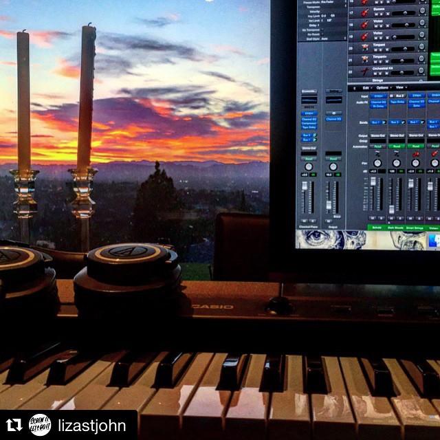 #Repost @lizastjohn working hard on the music! ・・・ My happy place #BOUNDfilm #FilmScore