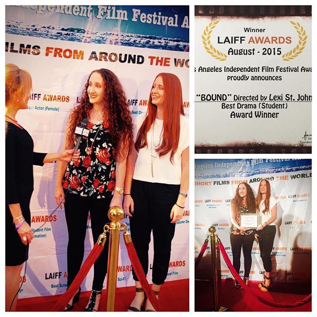 WE WON!!! Best Student Drama at the #laiffawards we are so proud of our entire team! #BOUNDfilm #filmfestival #awards #thestjohnsisters