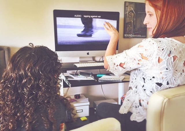 Look who stopped by for her first editing lesson! Thanks for your help with #CARGOfilm Izzie! Get ready to see her in action... Xoxo 👭🎥😍 #editing #shortfilm #thestjohnsisters #indiefilm #postproduction #film #fcp #makingmovies #womeninfilm #cutiepies #action