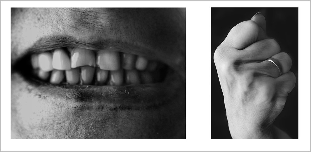 "Kiss and Caress, Diptych (100x70cm & 50x70cm). C-Type photographs In my early years working with photography, I created unintentional images with a heavy psychological load, that totally escaped the type of work I was doing in order to comply with the mainstream photographic norm. These images were immediately cast out from my portfolio, but fortunately, never deleted or lost. I already knew that there was something strong and unique to them that belonged only to me, but I was afraid to share at that time.  ""Kiss and Caress"" is a diptych that portrays my mother's mouth and fist as a representation of the misperception and lack of knowledge about the concept of ""Love"" in dysfunctional families as it was my family. The use of a diptych reinforces the notion of ""Love"" as a sensory experience result of the sum of primordial gestures such as kisses and caresses."