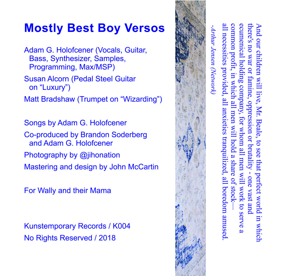 Adam G Holofcener -  Mostly Best Boy Versos  (2018)