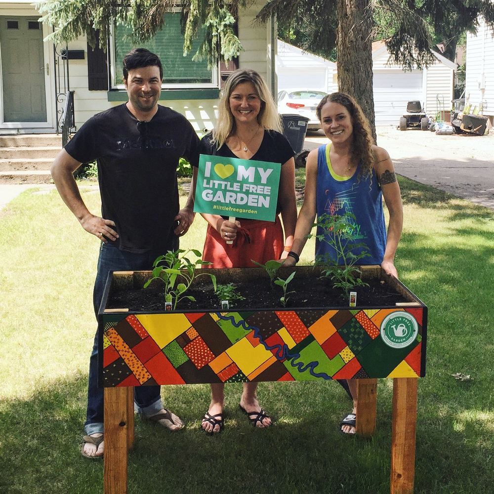 Co-founders, Jeff Knight, Megan Myrdal and Gia Rassier with Little Free Garden no. 4
