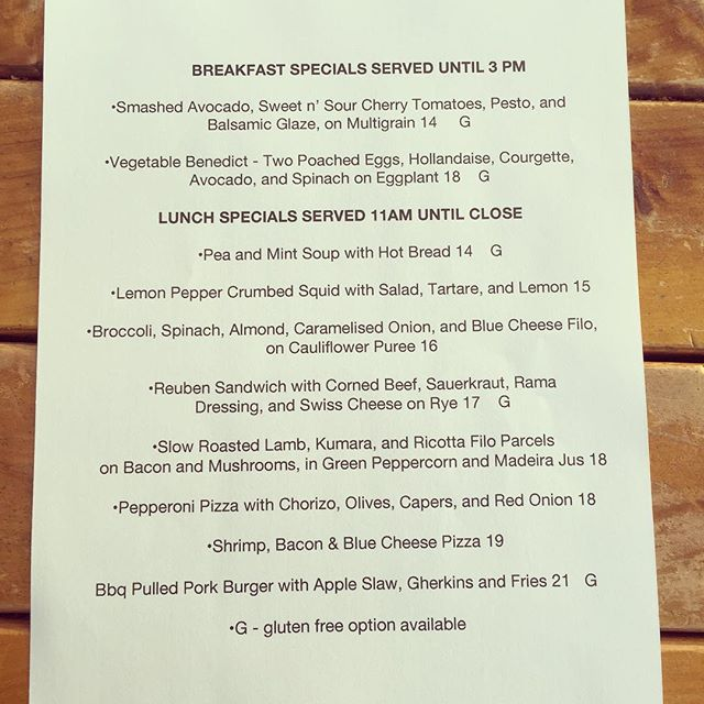 Saturday specials. Here all day until they're gone.