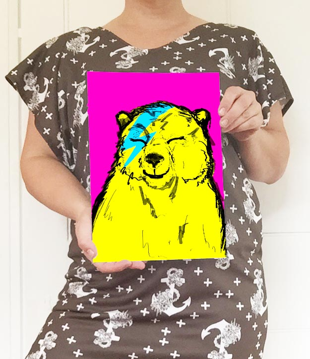 And here's the A4 size with my cheeky funny cutey-patootie laughing Bowie Bear art print. Naw. I've saved this as a template so that I can now drag and drop new prints of this size into this template. I love how it also shows my Anchors design on my dress so it has a real and genuine 'me' element which I hope to inject more of into my store over the next wee while.