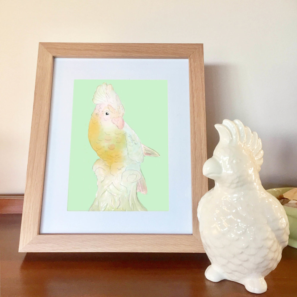 Hi Charlie! I've called this print 'Pretty Polly In Mint' and here you can see my cute cockatoo pencil holder which I am also currently a bit obsessed with - so much so that I haven't even put any pencils in it yet and I'm not sure that I want to!