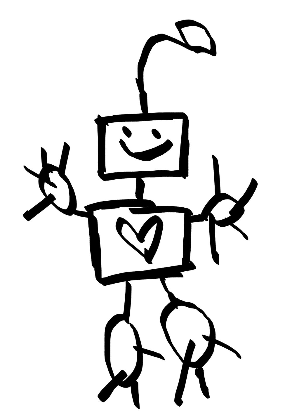 A happy robot seems a fitting little image - especially when it was drawn by one of my kids. I'm letting them take the lead...