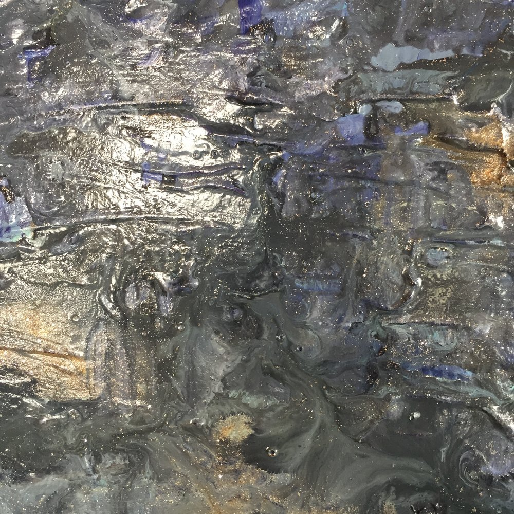 Layers and layers of glazes and glazes make up this watery painting. Sea II. It even has glitter!