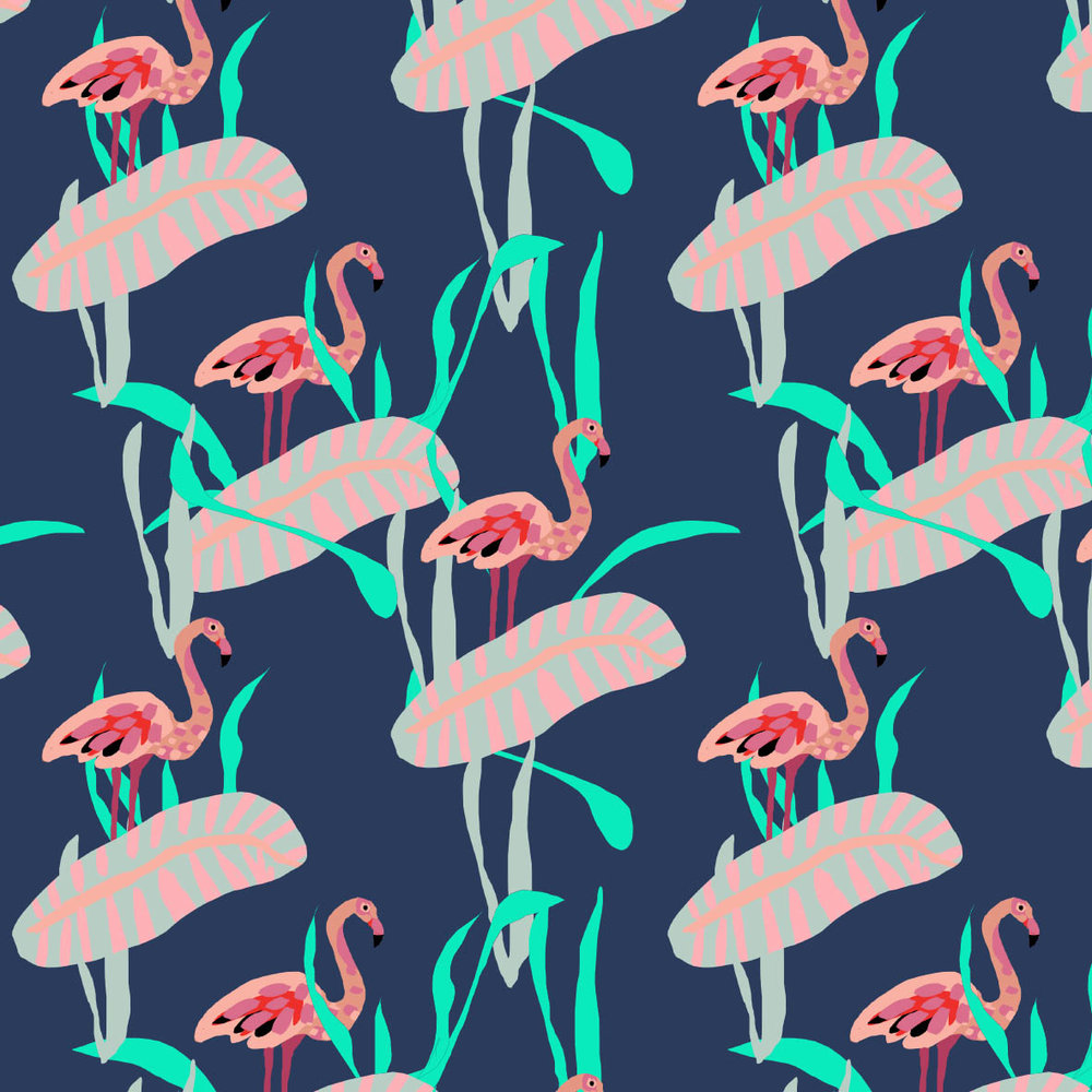 Flamingos as if cut from paper. This would sew up amazingly as a dress!