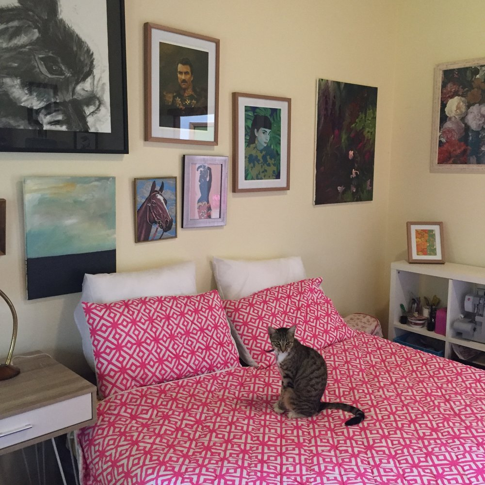 Lula the cat prefers the bright bed in the spare room. My sewing stuff also seems more manageable all organised in shelves rather than having all of my machines out all the time.