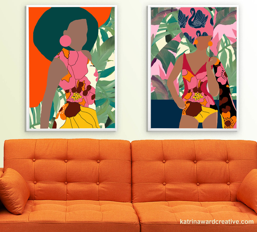 The first two pop poster prints combine my 60s native floral print with one of my favourite palm prints.