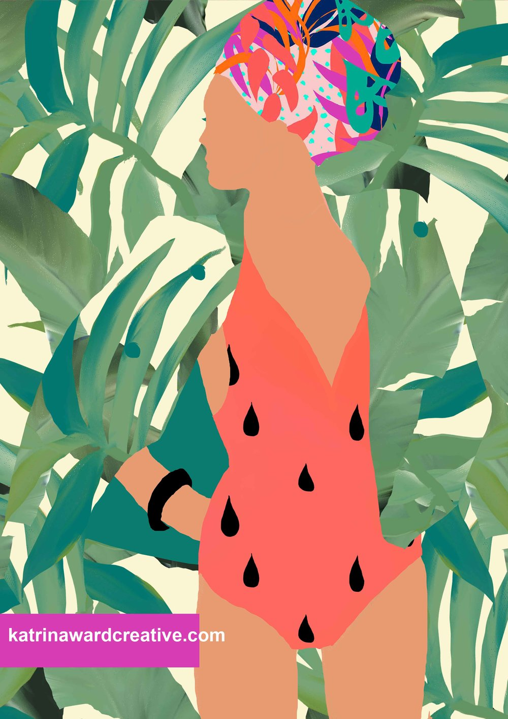 My watermelon rain print is still one of my favourites because of the slight ombre in the pink tones. The palm print is back with a neon jungle textile pattern that hasn't been published before. I love how her coat is the same as the jungle behind her and that it looks like she has her left hand in the pocket of her coat.
