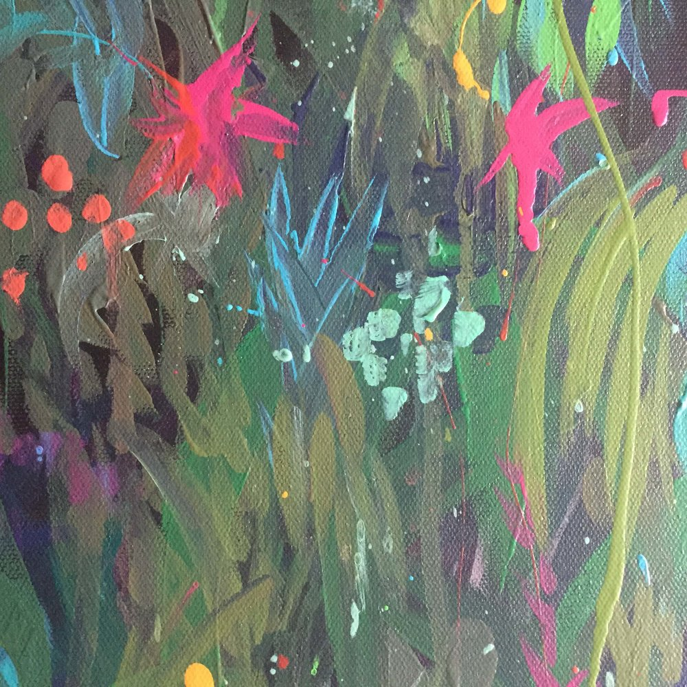A favourite detail from my Botanical painting series. 'Depth Becomes Her', 1200mm x 600mm, Acrylic on Canvas. Sold.