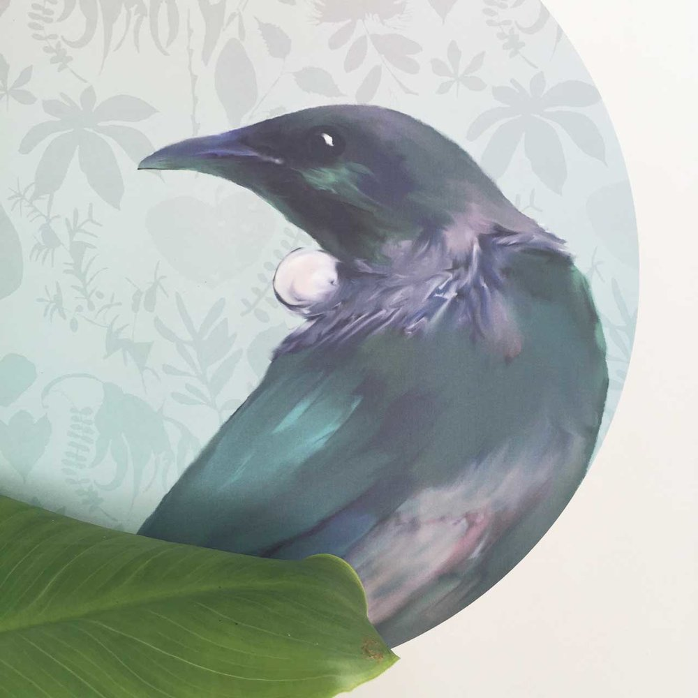 Normally my native bird decals have my native New Zealand flora pattern in the background. So I replaced this with a subtle ombre in greens to match Yvette's vision.