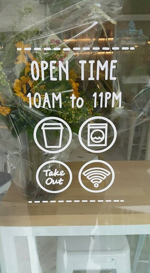 Café timing door window sticker image source https i