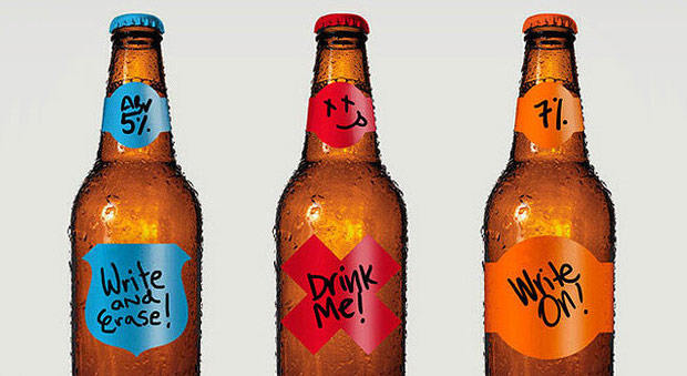 Quirky Bottle Sticker Labels - Image Source: http://www.coolhunting.com/food-drink/garage-monk-reusable-home-brew-labels