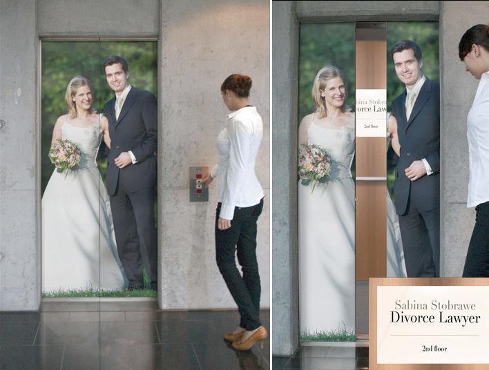 Divorce Lawyer advertising through creative elevator sticker  Image Credits:  https://www.crookedbrains.net/2011/07/creative-elevator-ads.html