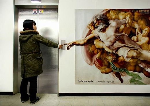Plastic Surgeon promoting his services through Michelangelo's painting as a stategically placed elevator sticker.  Image Credits:  https://in.pinterest.com/pin/358599189061485015/