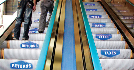 Tata Mutual Fund Escalator Sticker Promotion: Returns go up, taxes down  Image Credits:  http://www.toxel.com/inspiration/2009/08/19/clever-and-creative-escalator-advertising/