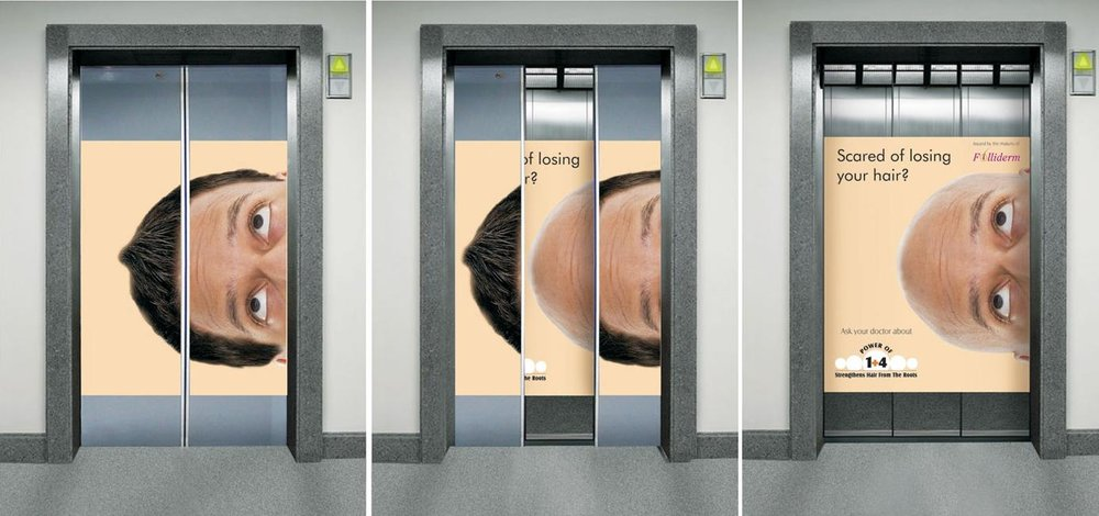 """""""Bald man"""" ad by hair-loss prevention brand Folliderm  Image Credits:  https://brightside.me/creativity-design/15-creative-elevator-ads-that-can-lift-your-mood-455510/"""