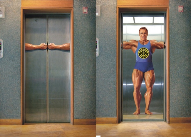 Gold Gym's ad showing how strong members can turn out.  Image Credits:  https://brightside.me/creativity-design/15-creative-elevator-ads-that-can-lift-your-mood-455510/