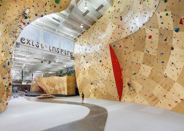 7. Exist to Inspire: what a powerful message! On the rock-climbing walls of Brooklyn Boulders, a coworking space in New York City