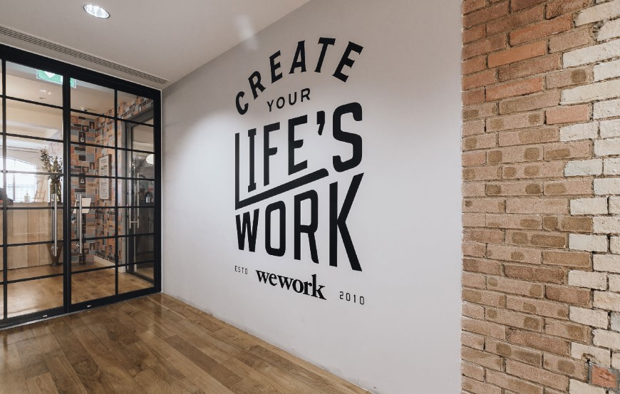 3. From the walls in the lobby area of WeWork's London office