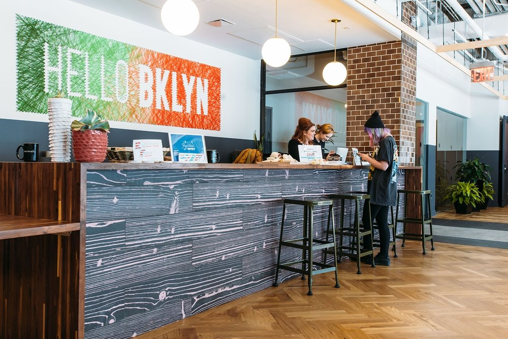 18. Hello Brooklyn! says the reception at WeWork coworking space in Williamsburg