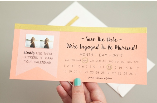 ENGAGEMENT ANNOUNCEMENT STICKER  Image via  Something Turquoise