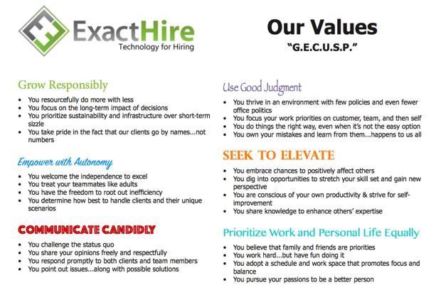 ExactHire's Values  Image via  ExactHire Blog