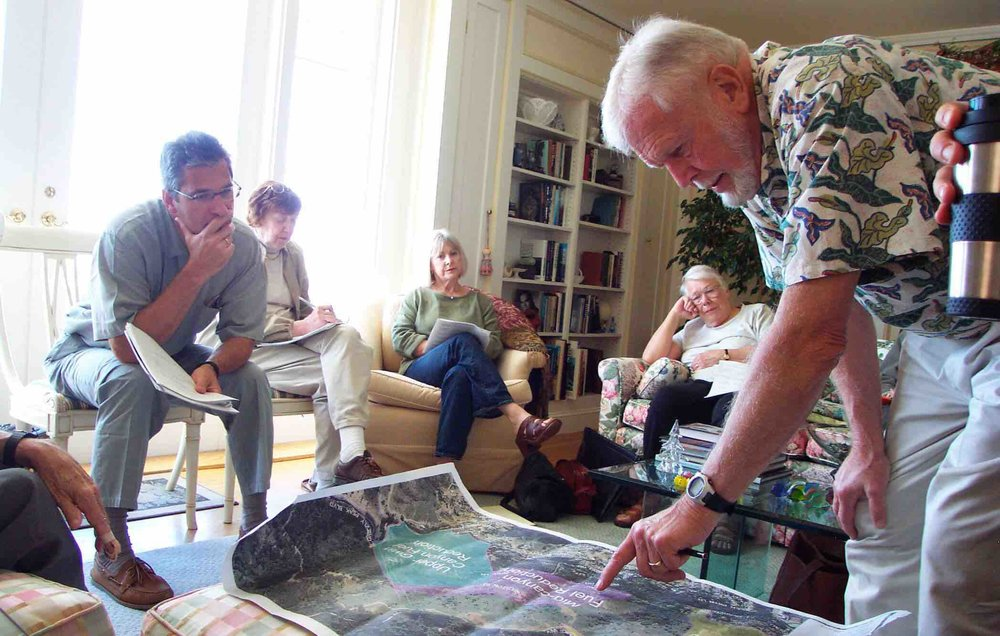 Tim (right) leads a discussion with Conservancy board members and consultants in 2008 regarding fuel reduction goals in Claremont Canyon.