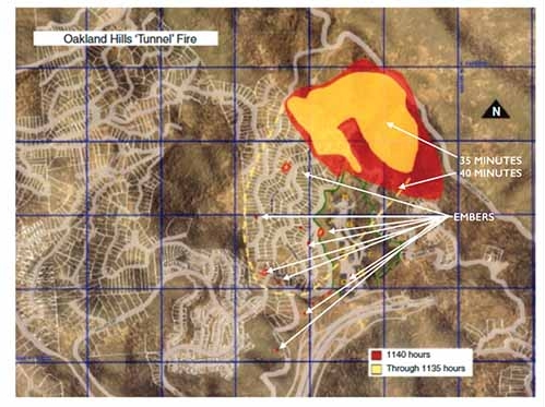 Extent of 1991 Oakland Hills Fire through 1140 hours, as developed by Dave Sapsis, where the spread shown in the previous figure is represented by the area outline in yellow. During the subsequent 5 minutes the fire propagated as shown in red. The three spot fires have grown, and a multitude of new spot fires have been initiated during this 5-minute period. From figure 1.3 (p. 17) of Woycheese (2000), reproduced with permission.
