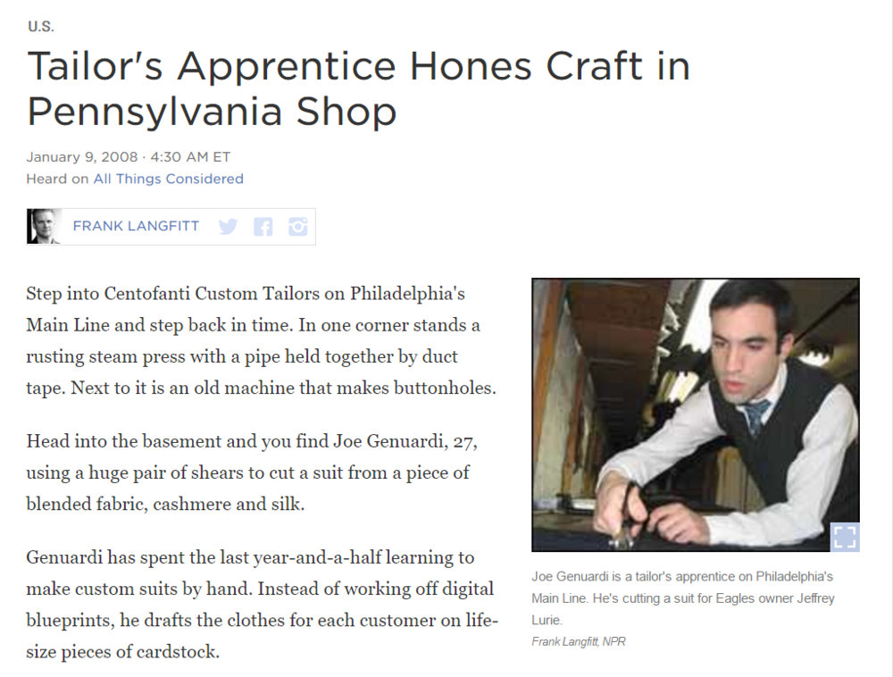 Tailor's Apprentice Hones Craft in Pennsylvania Shop -National Public Radio