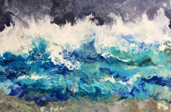 """Sea Tempest"" Encaustic on birch panel 36x24 ($3000.00)"