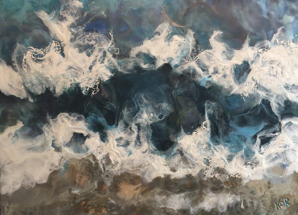 """Tempest""                                                           Encaustic on Birch Panel                                                         25 x 19 ($1200)"