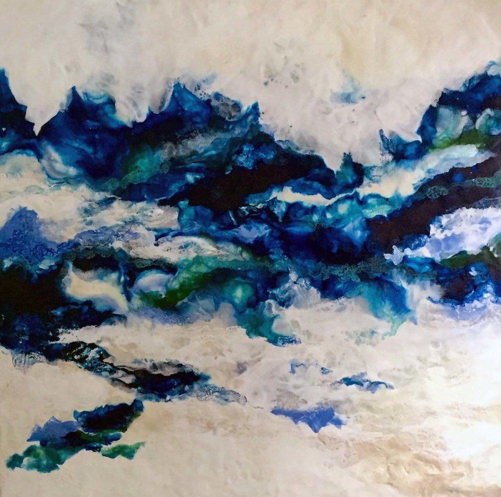"""Shore Dance""                                                              Encaustic on Birch Panel                                                         36x36 ($3000)"